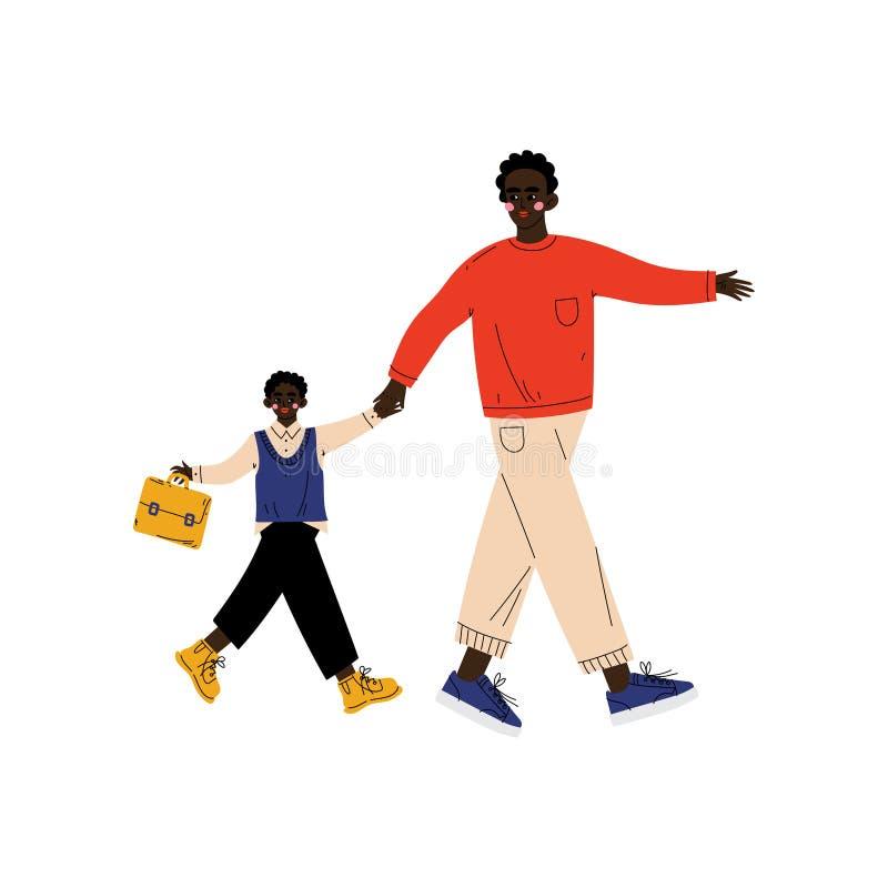 De Student van vaderleading his son aan School, Leuke Jongen en Zijn Papa die samen Vectorillustratie lopen royalty-vrije illustratie