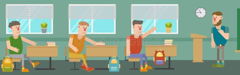 De studenten bespreken het probleem in het klaslokaal bij de Universiteit stock illustratie