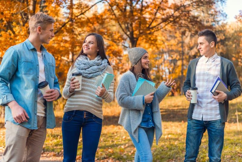 De studenten in de herfst parkeren stock afbeelding