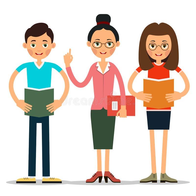 De studenten, de jongen en het meisje lezen een boek of een samenvatting aan een vrouwenleraar stock illustratie