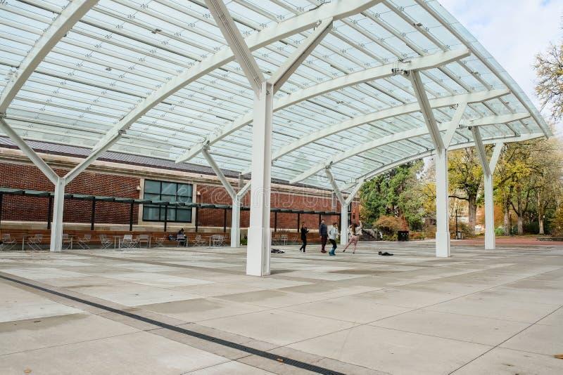 De studenten spelen en dansen onder de Vleugel, de Universiteit van de Staat van Oregon stock afbeelding