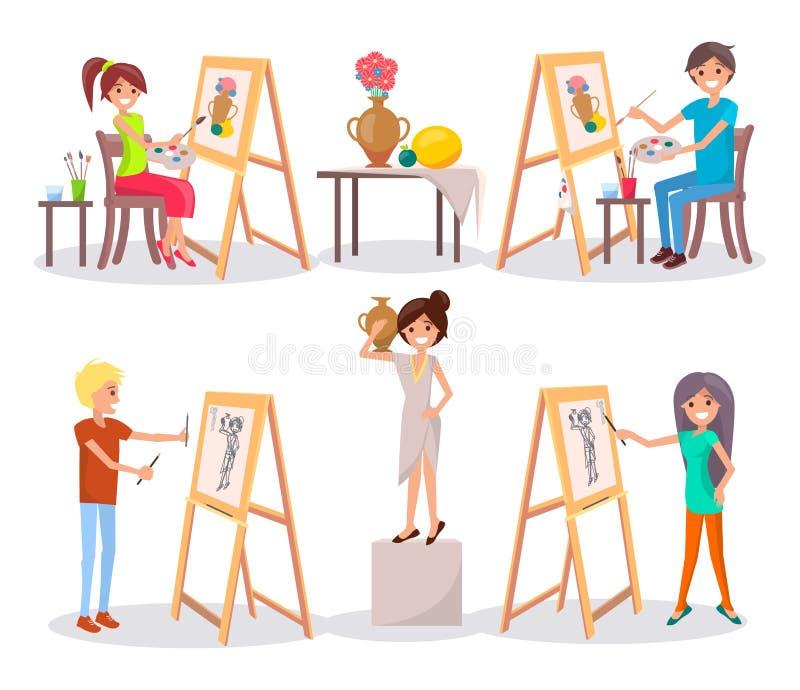 De studenten trekken en schilderen Geïsoleerde Illustratie stock illustratie
