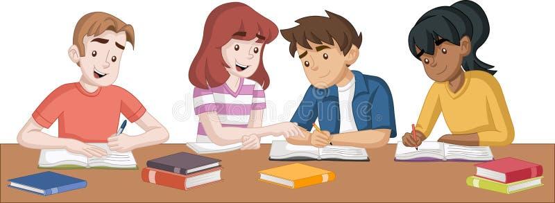 De studenten van de beeldverhaaltiener met boeken Studenten die onderzoek en studie doen stock illustratie