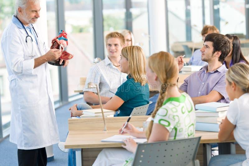 De studenten van de geneeskunde met professor stock foto