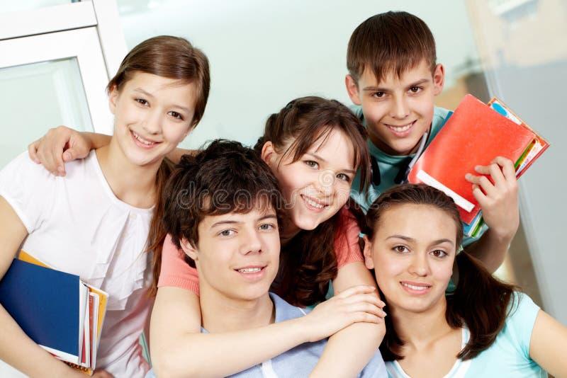 De studenten van de middelbare school stock foto