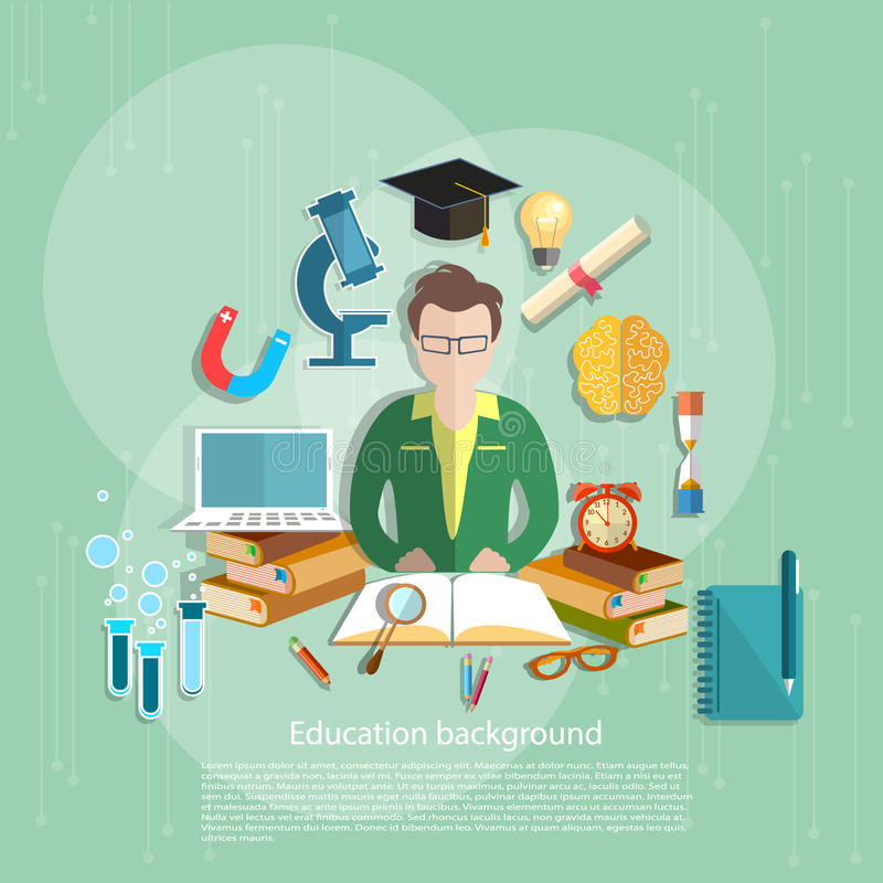 De studenten van het onderwijsconcept e-leert leraars open boek royalty-vrije illustratie