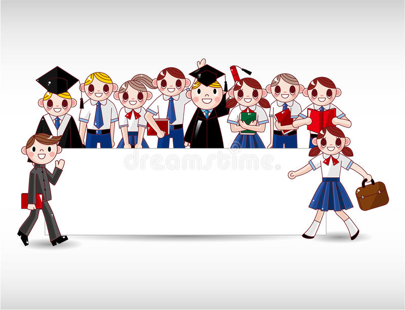 De studentenkaart van het beeldverhaal royalty-vrije illustratie