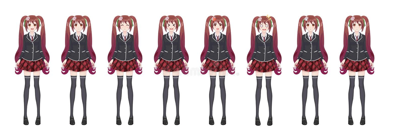 De studentenmeisje van Animemanga in blazer en rode rok royalty-vrije illustratie
