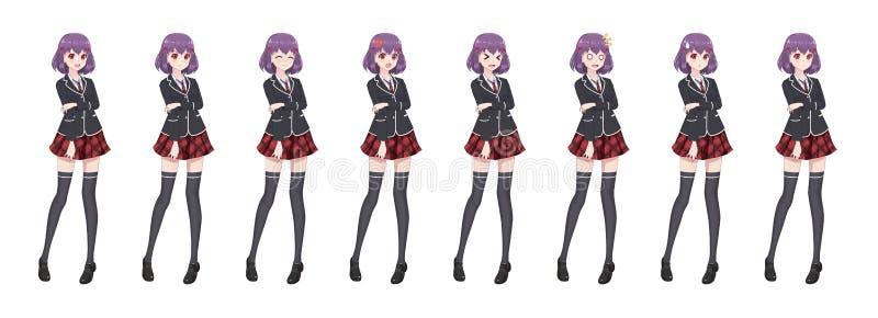 De studentenmeisje van Animemanga in blazer en rode rok stock illustratie
