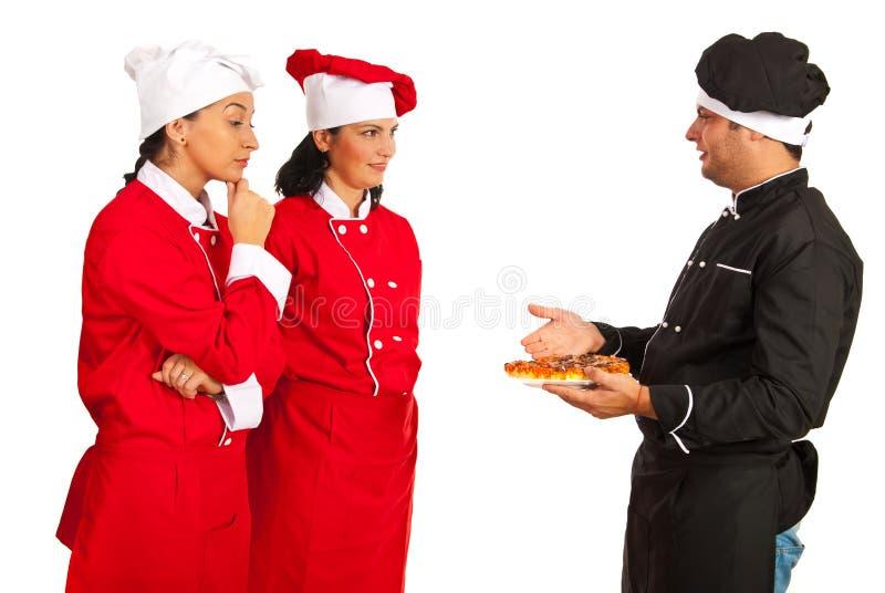 De studentenvrouwen van de chef-kokleraar wuth royalty-vrije stock afbeeldingen