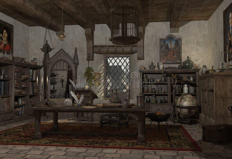 De studie van de Alchimist royalty-vrije illustratie