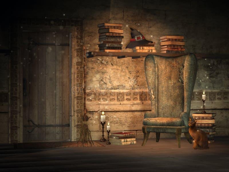 De studie van de fantasie met magische boeken