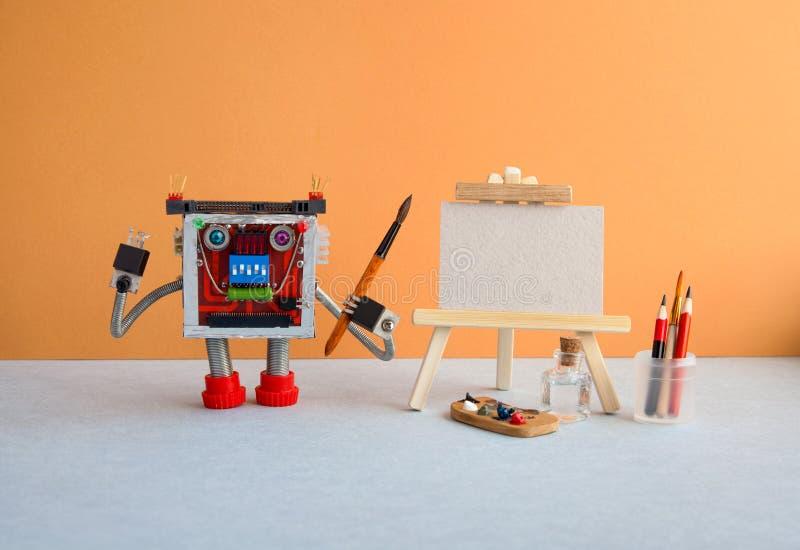 De studio die van de tentoonstellingsaffiche visuele arts. trekken In hand de waterverfborstel van de robotkunstenaar, houten sch royalty-vrije stock foto