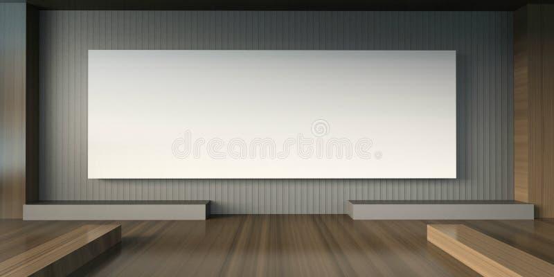 De studio en de Tentoonstellings Minimale stoel van de kunstengalerij en witte Beeldenkaders vector illustratie