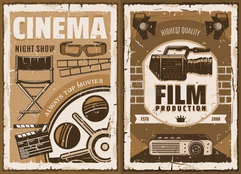 De studio van de cinematografiefilm, 3D bioskoop royalty-vrije illustratie