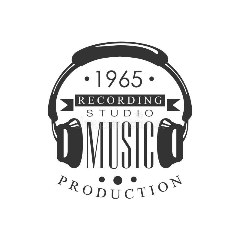 De Studio Zwart-wit Logo Template With Sound Recording van het muziekverslag Retro met Hoofdtelefoonssilhouet vector illustratie