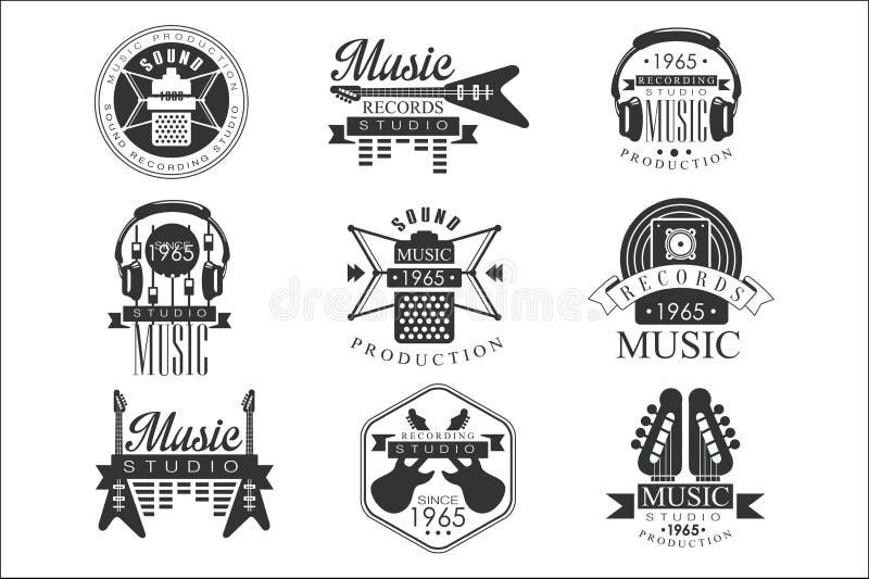De Studio Zwart-witte Emblemen van het muziekverslag royalty-vrije illustratie