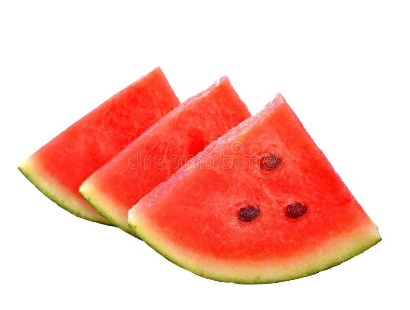 De stukken van de besnoeiingswatermeloen isoleerden witte achtergrond royalty-vrije stock foto