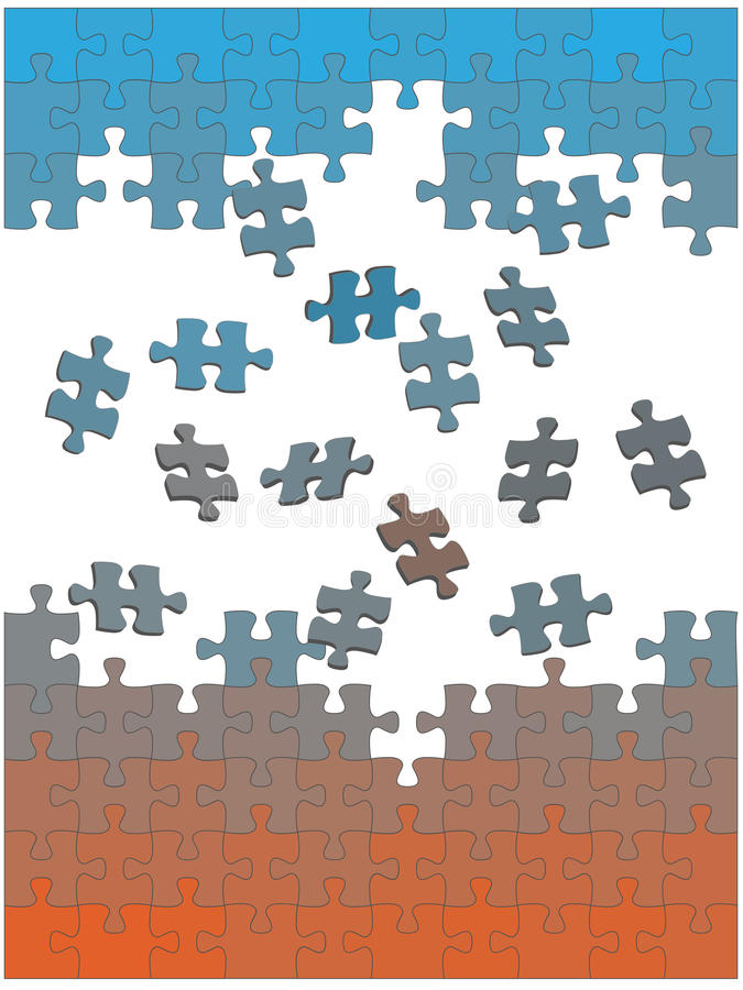 De stukken van de puzzel vallen samen als oplossing vector illustratie