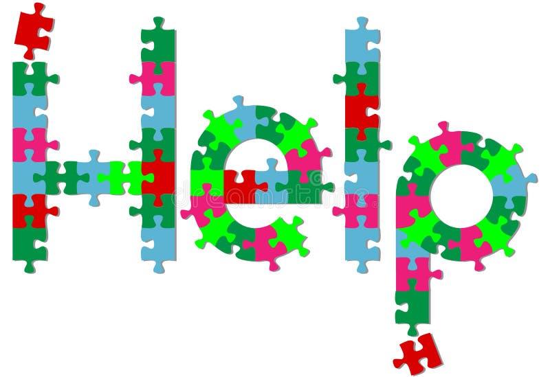 De stukken van de puzzel vinden het antwoord van de HULP op schaduw royalty-vrije illustratie