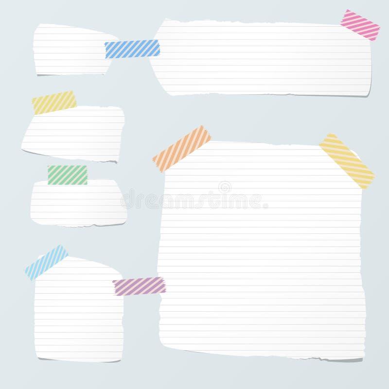De stukken van document van de besnoeiings het witte besliste nota zijn geplakt met gestreepte kleverige band op lichtblauwe acht royalty-vrije illustratie