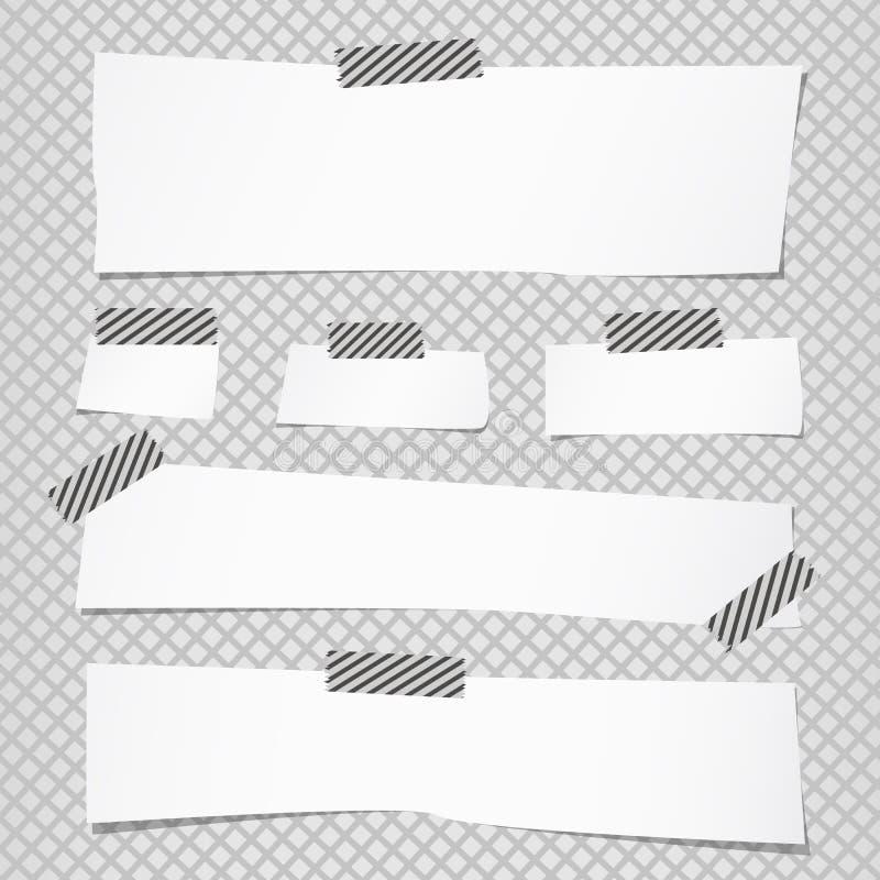 De stukken van document van de besnoeiings het witte nota zijn geplakt met gestreepte kleverige band op netpatroon vector illustratie