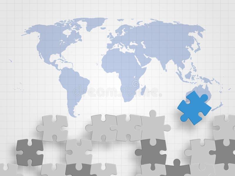 De stukken van figuurzaag op wereldkaart vertegenwoordigt concept groepswerk, het creatieve denken, globale verbinding en innovat vector illustratie
