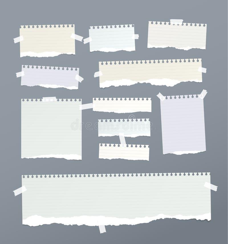 De stukken van gescheurd beslist, nota, notitieboekje, voorbeeldenboekdocument stroken, bladen plakten met kleverige band royalty-vrije illustratie