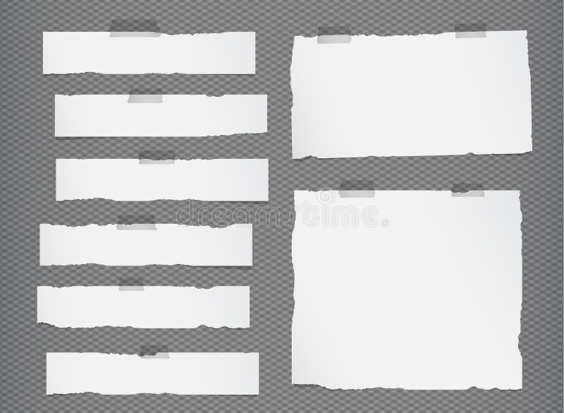 De stukken van gescheurd wit leeg notadocument sticked op grijze geregelde, gestreepte achtergrond stock illustratie