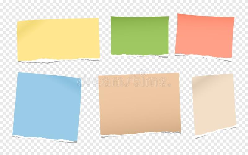De stukken van gescheurde kleurrijke lege nota, notitieboekjedocument voor tekst plakten op geregelde grijze achtergrond stock illustratie