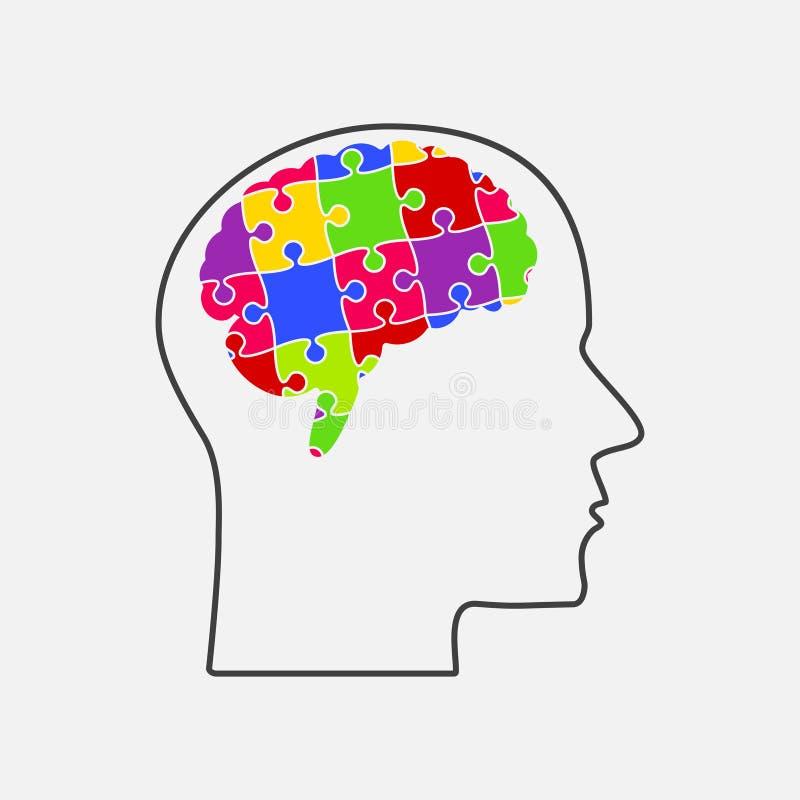 De stukken van het raadsel Silhouet Brain Head De hersenen van het raadsel royalty-vrije illustratie