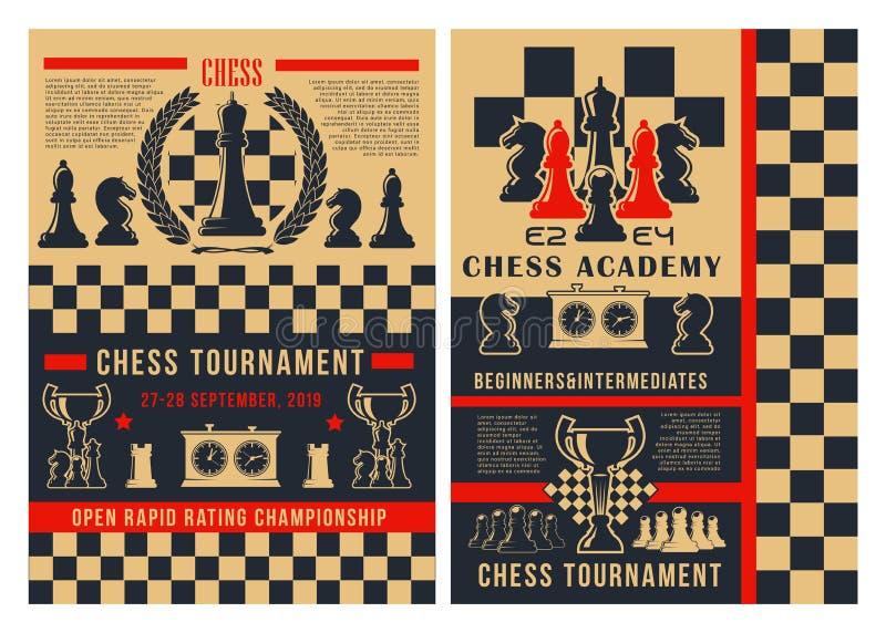 De stukken van het de toernooienschaakbord van de schaaksport royalty-vrije illustratie