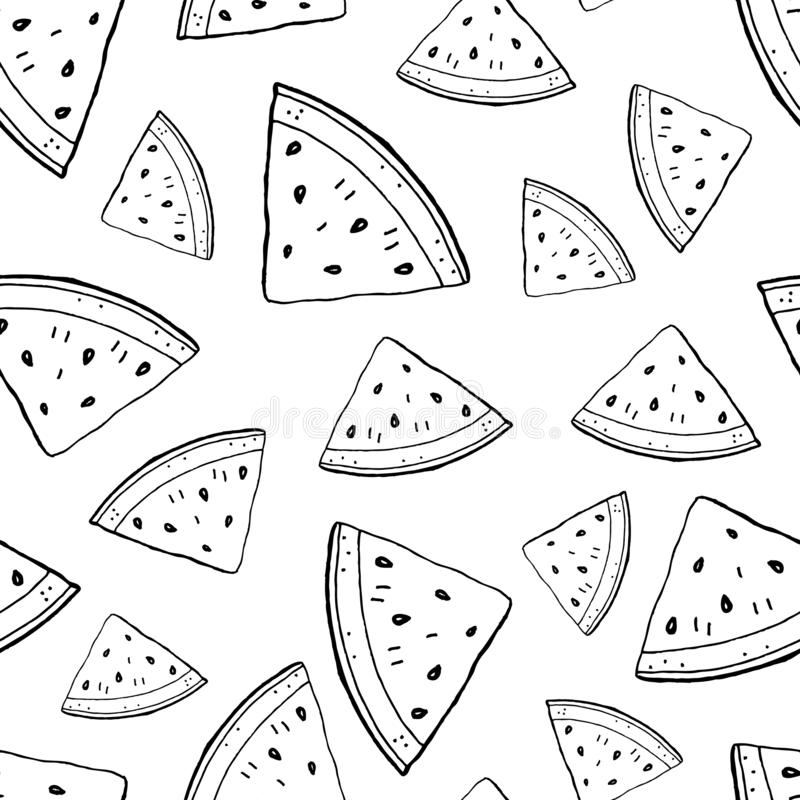 De stukken van de watermeloencontour vector illustratie