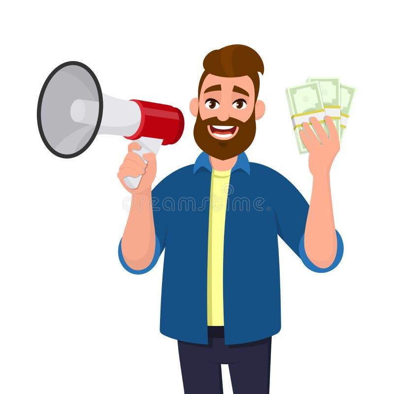 De succesvolle jonge een megafoon of een luidspreker houden en mens die bundelt ter beschikking of contant geld, geld, munt, bank royalty-vrije illustratie