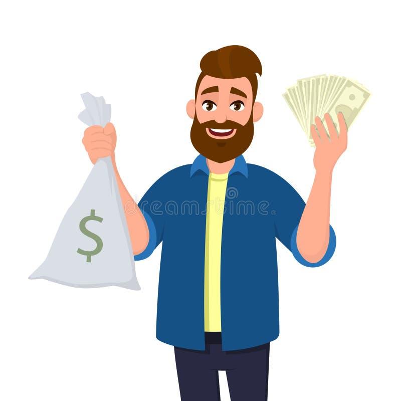 De succesvolle jonge mens toont of houdt geldzak, contant geldzak en bos van geld, contant geld, munt, dollarrekeningen, in hand  stock illustratie