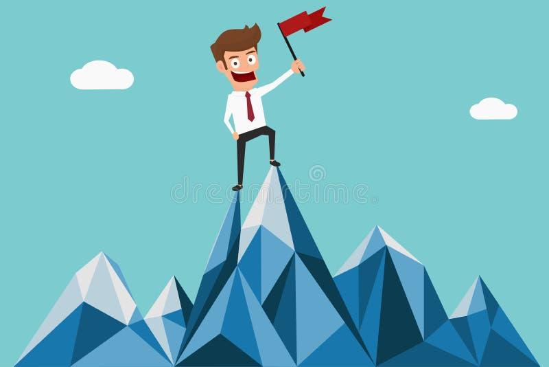 De succesvolle vlag van de zakenmanholding bovenop berg Verschillende 3d bal stock illustratie