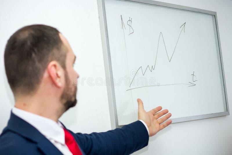 De succesvolle zakenman met een baard in het bureau toont een grafiek stock foto