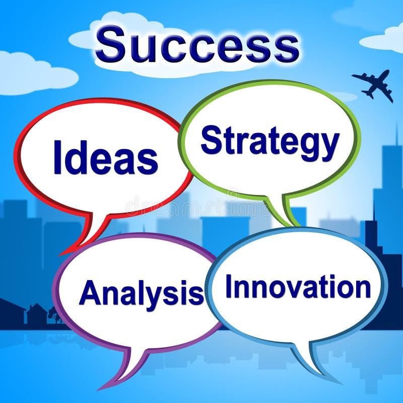 De succeswoorden betekent Zegevierend Innovatie en Winnaar vector illustratie