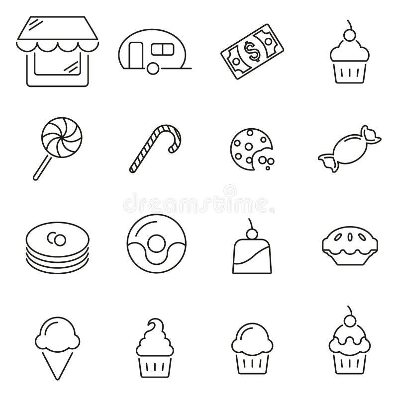 De suikergoedwinkel & het Suikergoed of de Snoepjespictogrammen verdunnen Reeks van de Lijn de Vectorillustratie vector illustratie
