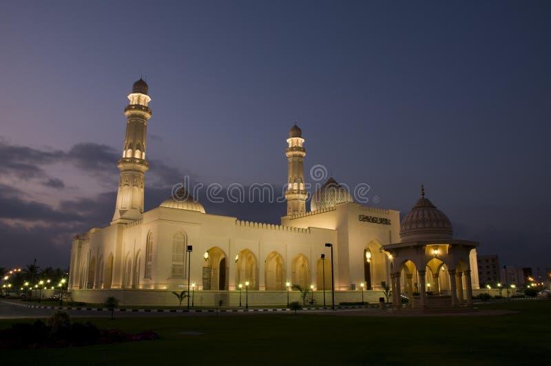 De Sultan Qaboos van de moskee in nacht, Salalah, Oman stock afbeelding