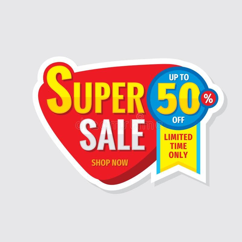 De super banner van het verkoopconcept Bevorderingsaffiche Korting tot 50% van creatief stickerembleem Speciale aanbiedingetiket  vector illustratie
