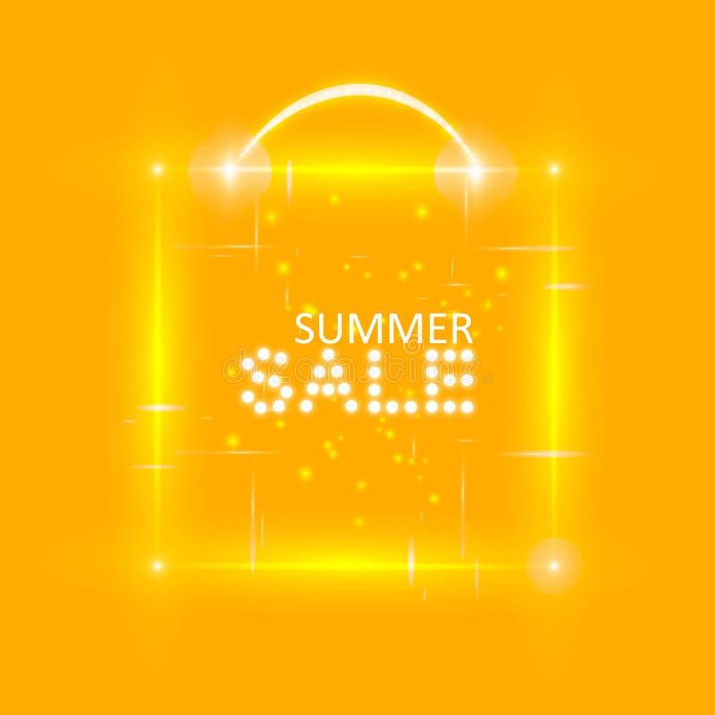 De super banner van de de zomerverkoop met magische doos op de oranje achtergrond Bedrijfs seizoengebonden het winkelen concept,  stock illustratie