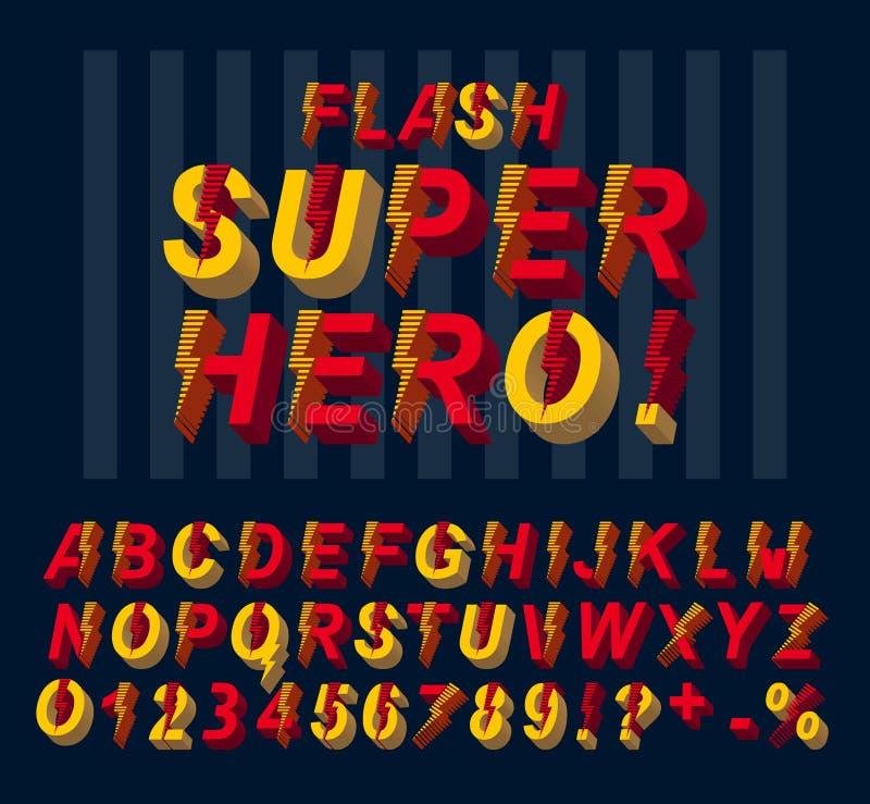 De super doopvont van de heldenflits 3D alfabetletters en getallen in een strippaginastijl vector illustratie