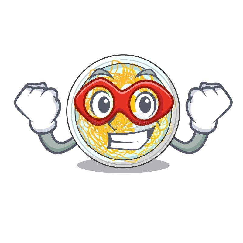 De super held wordt naengmyeon gediend in beeldverhaalkom vector illustratie