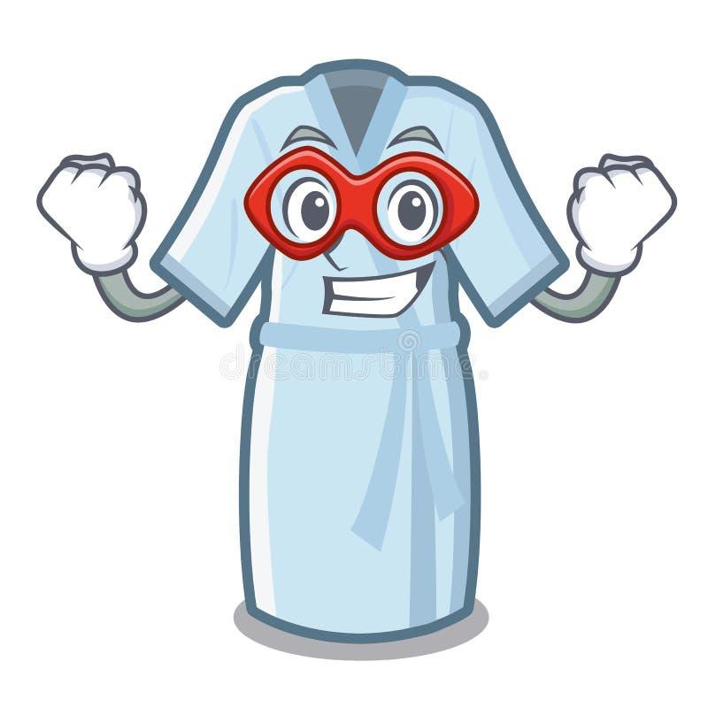De super heldenbadjas wordt geplaatst boven mascottelijst vector illustratie