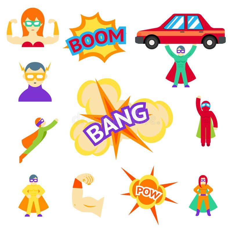De super karakters van helden vlakke pictogrammen vector illustratie