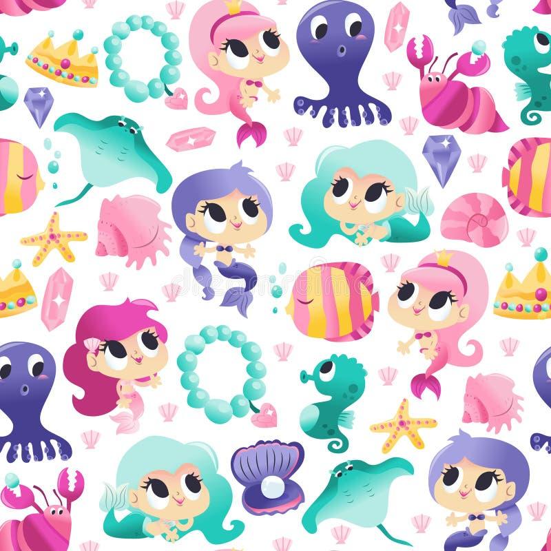 De super Leuke Meerminnen van het Overzeese Achtergrond Schepselen Naadloze Patroon vector illustratie