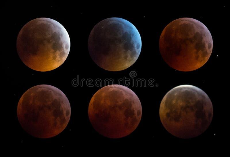 De super maan van de bloedwolf van Januari 2019 stock afbeeldingen