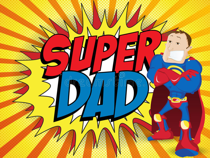 De super Papa van de Mensenheld. Gelukkige Vader Day royalty-vrije illustratie
