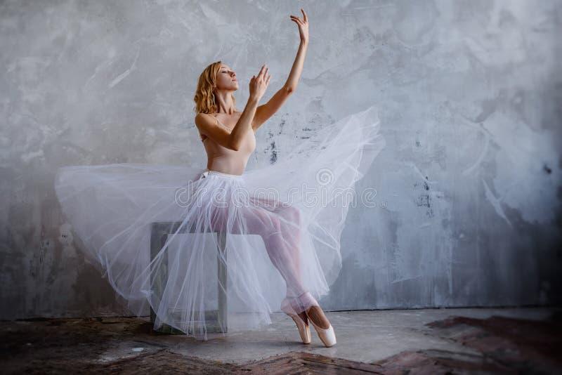 De super slanke ballerina in een zwarte kleding stelt in de studio royalty-vrije stock foto's